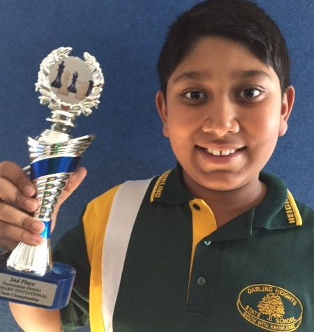 Aanan 2nd place in 2016 Toowoomba District Primary School Invitational Individual Chess Championship